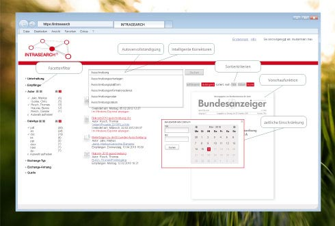 Enterprise Search Kachel Funktionen